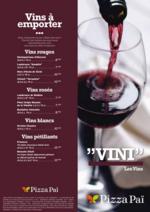Catalogues et collections Pizza paï : Découvrez la carte des vins