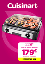 Promos et remises Pulsat : Découvrez l'offre Plancha Cuisinart !