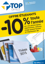 Promos et remises Top office : -10% toute l'année - offre étudiants