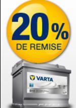 Bons Plans Norauto : 20% de remise pour l'achat d'une batterie Silver Dynamic Varta