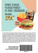 Folhetos Mc Donald's : McMenu McVeggie, McChicken, McBifana ou Double Cheeseburger