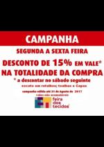 Promoções e descontos Feira dos tecidos : -15% em vale !!!
