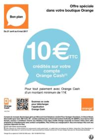Prospectus Orange PARIS 03 : 10€ crédités sur votre compte Orange Cash