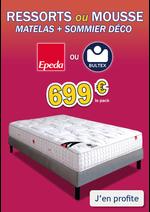 Promos et remises  : Pack matelas+sommier BULTEX / EPEDA, 2 places dès 699€