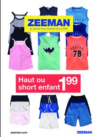 Prospectus Zeeman Sevran : Haut ou short enfant à 1.99€