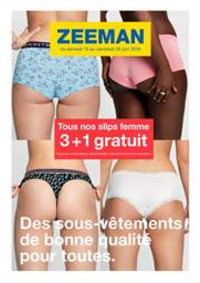 Prospectus Zeeman Bobigny : Tous nos slips femme 3+1 gratuit