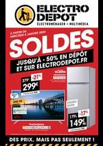 Prospectus ELECTRO DEPOT : SOLDES. Jusqu'à -50% en dépôt et sur electrodepot.fr